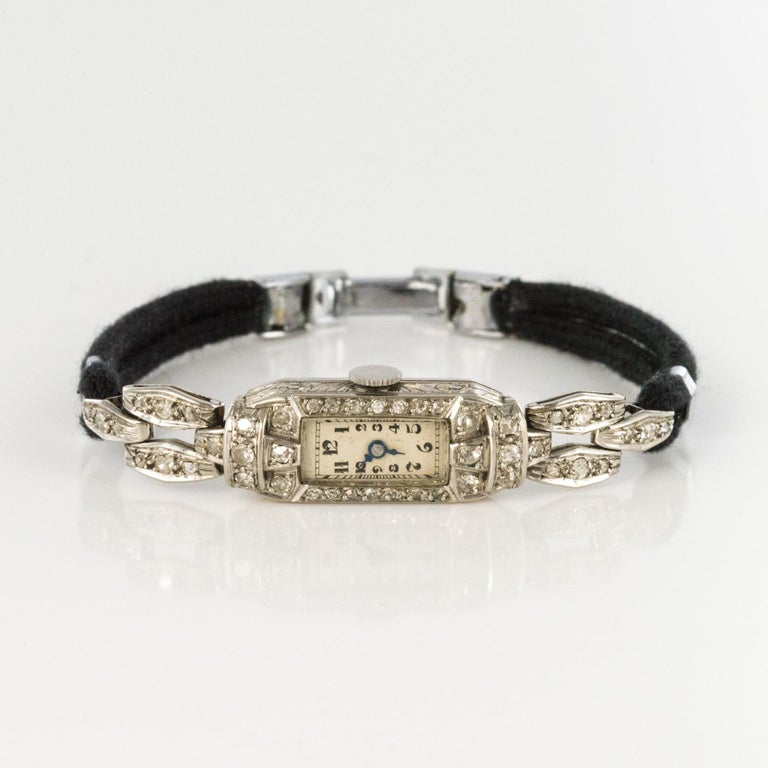 French 1930s Platinum 18 Karat White Gold Diamond Art Deco Lady Watch 8