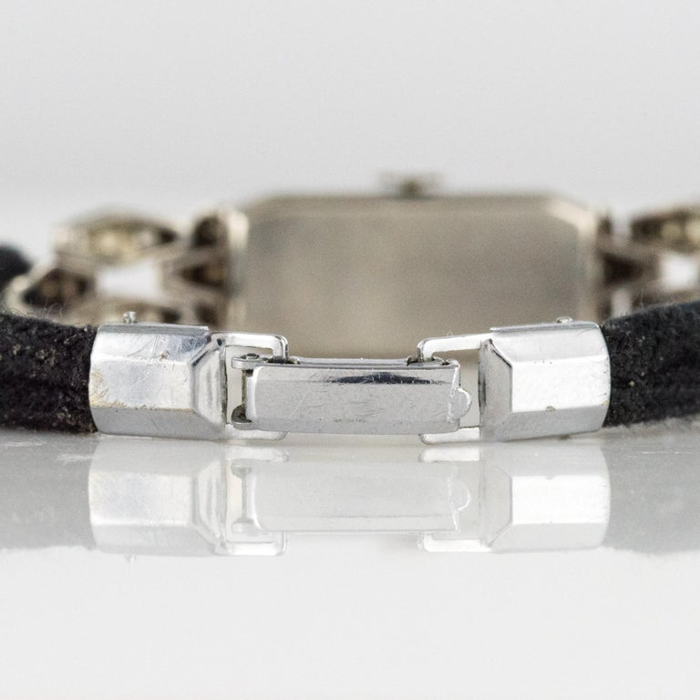 French 1930s Platinum 18 Karat White Gold Diamond Art Deco Lady Watch 10
