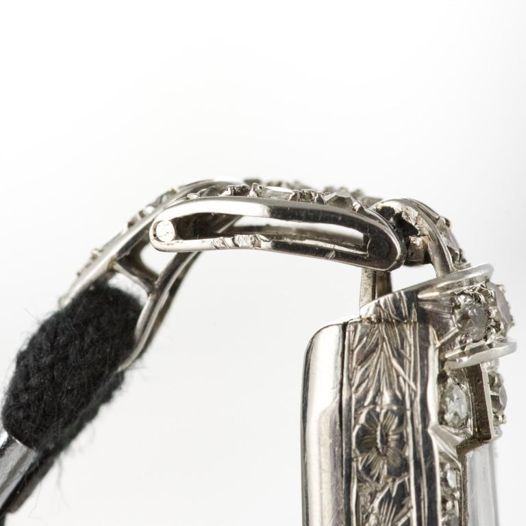 French 1930s Platinum 18 Karat White Gold Diamond Art Deco Lady Watch 14