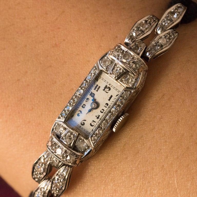 Women's French 1930s Platinum 18 Karat White Gold Diamond Art Deco Lady Watch
