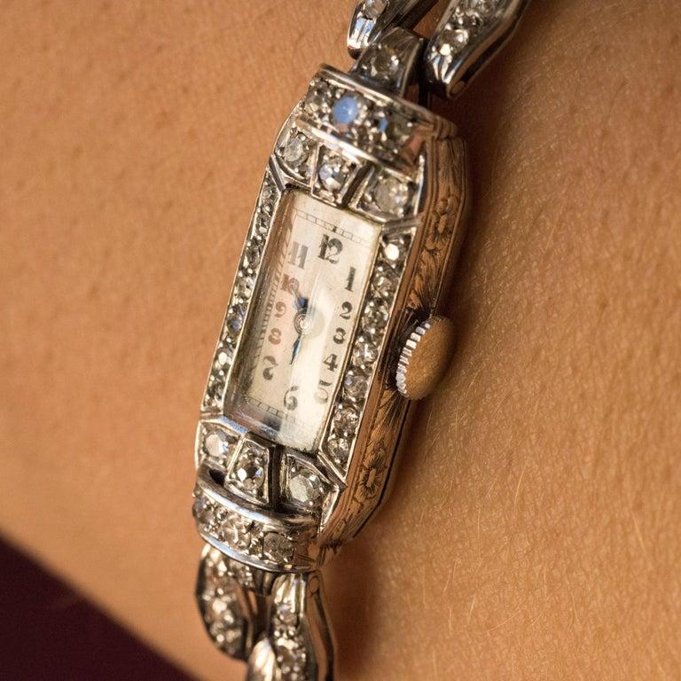 French 1930s Platinum 18 Karat White Gold Diamond Art Deco Lady Watch 4
