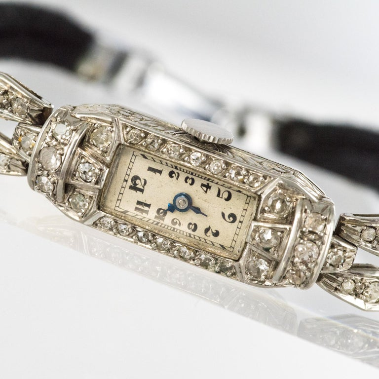 French 1930s Platinum 18 Karat White Gold Diamond Art Deco Lady Watch 5