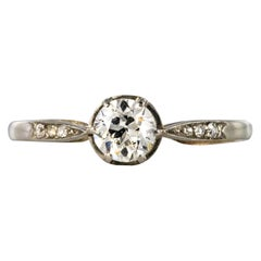 French 1930s Platinum Diamond Solitaire Ring