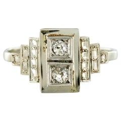 French 1930s Platinum White Gold Diamond Art Deco Ring