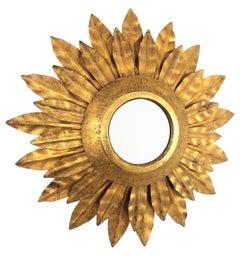 French 1930s Regency Modern Gilt Iron Double Layered Sunburst Mirror Miniature