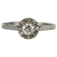 French 1930s Retro Diamond Platinium Solitaire Ring