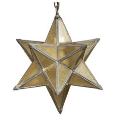 French 1930s Star Light Pendant with Metal Frame and Golden Glass Panels