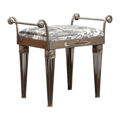 French 1930s Steel Bench with Out-Scrolling Arms, Tapered Legs and Toile Fabric