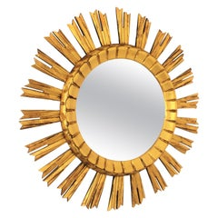 French 1930s Sunburst Mirror in Giltwood, Baroque Style