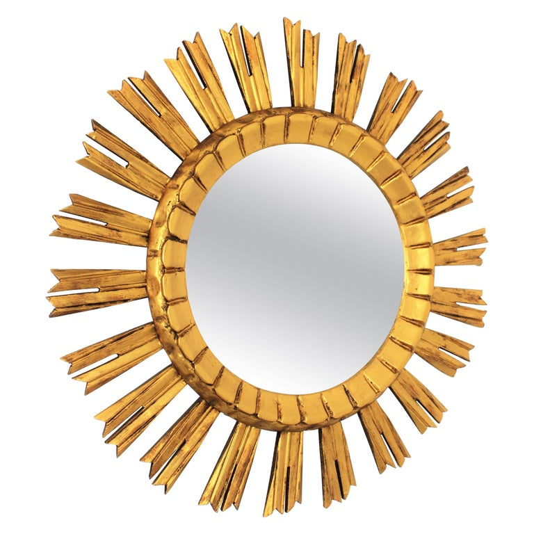 French 1930s Sunburst Mirror in Giltwood, Baroque Style For Sale