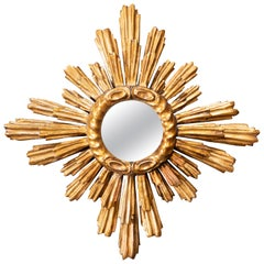 French 1930s Two-Layered Radiating Sunburst Mirror with Cloudy Frame
