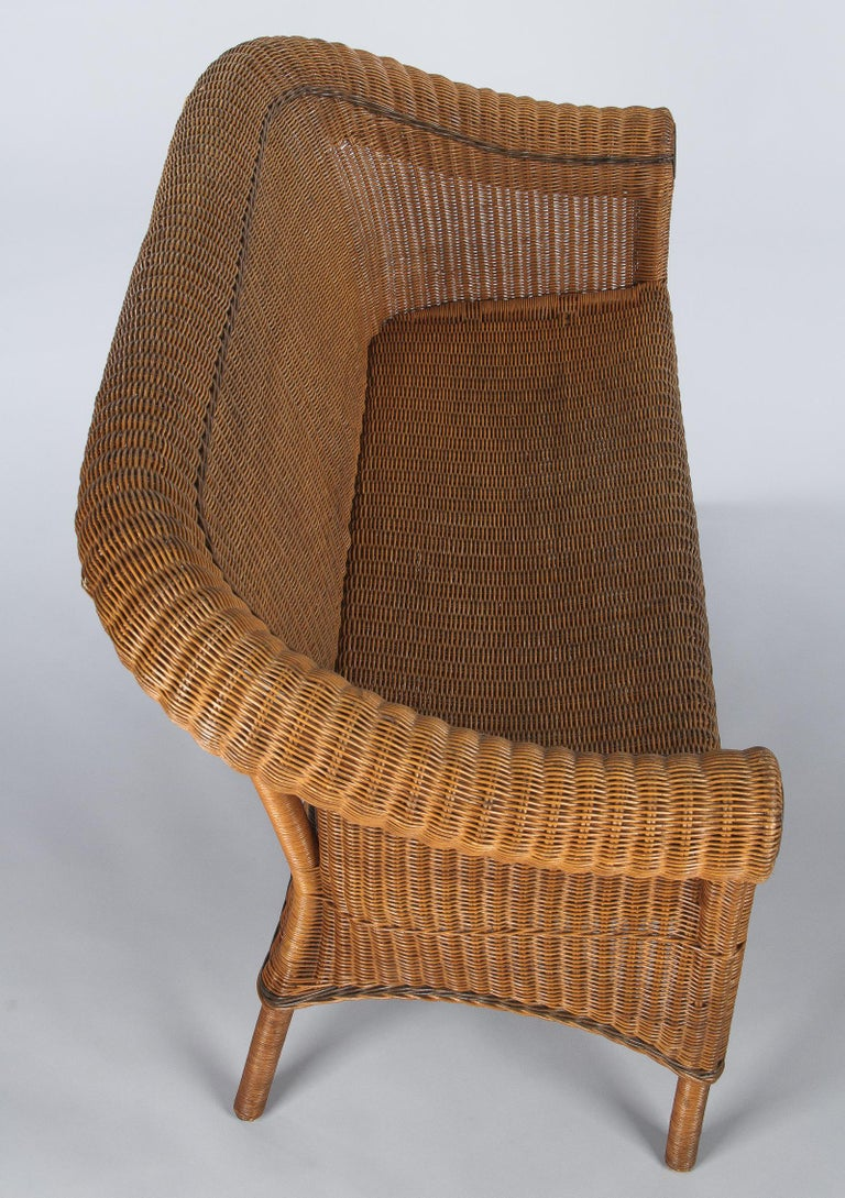 French 1930s Wicker Sofa For Sale 6