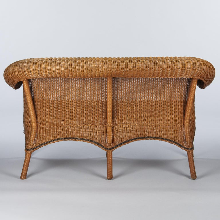 French 1930s Wicker Sofa For Sale 7