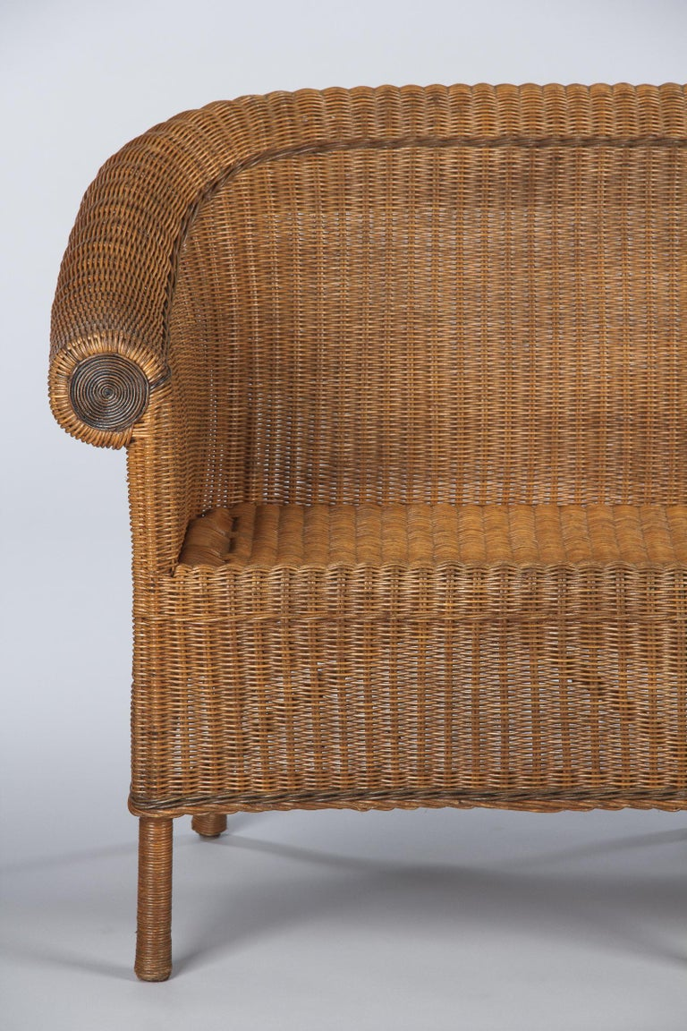 French 1930s Wicker Sofa For Sale 8