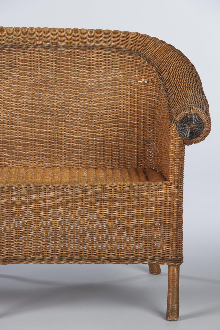 French 1930s Wicker Sofa For Sale 9