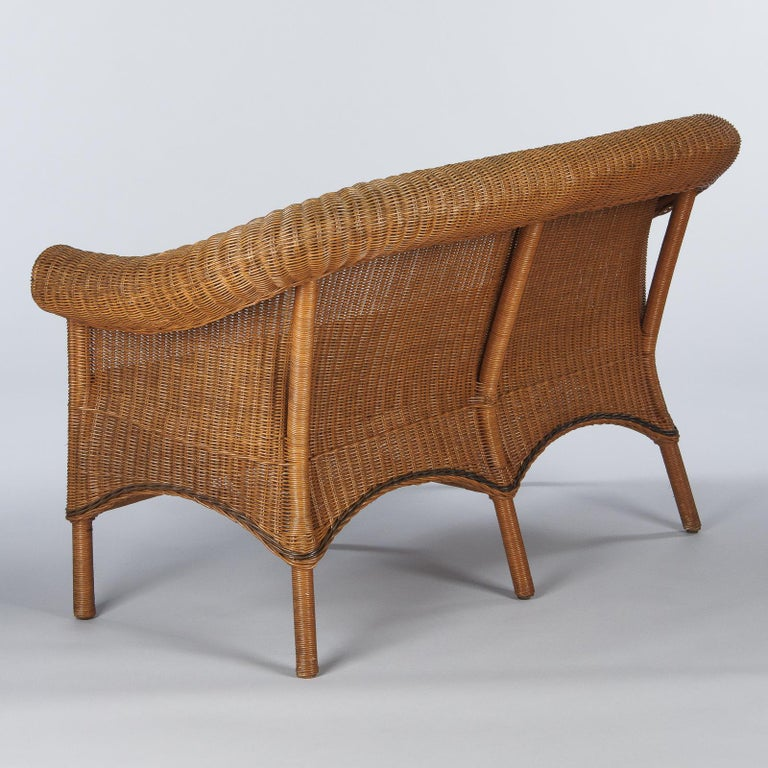 French 1930s Wicker Sofa For Sale 12