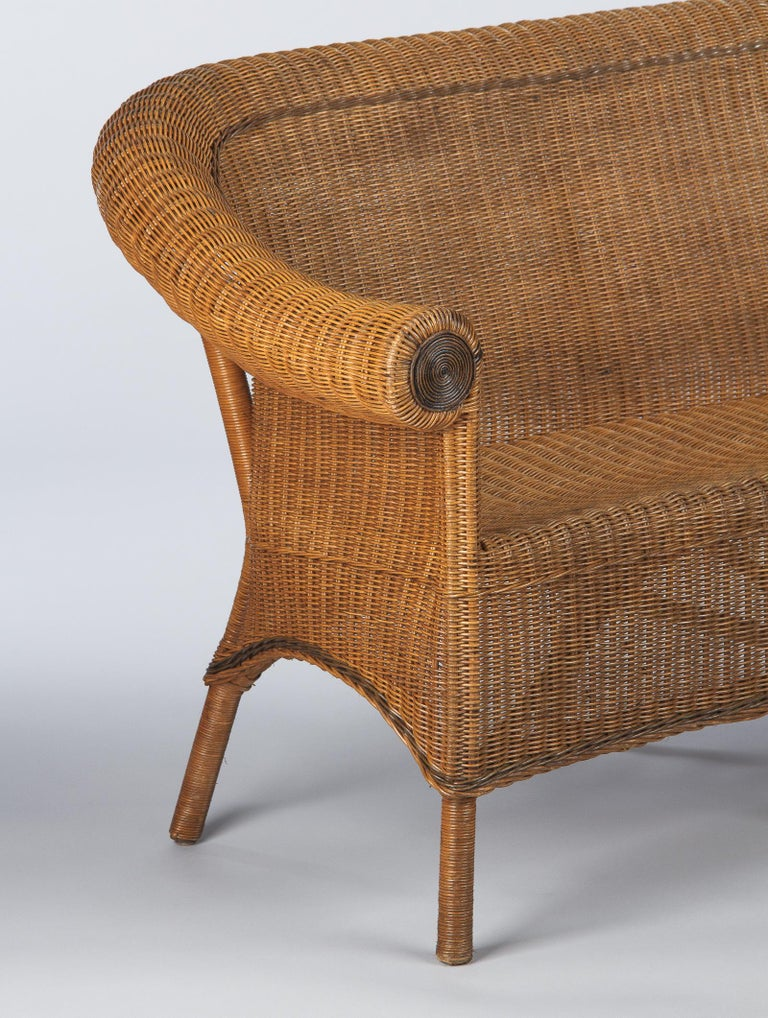 French 1930s Wicker Sofa For Sale 1