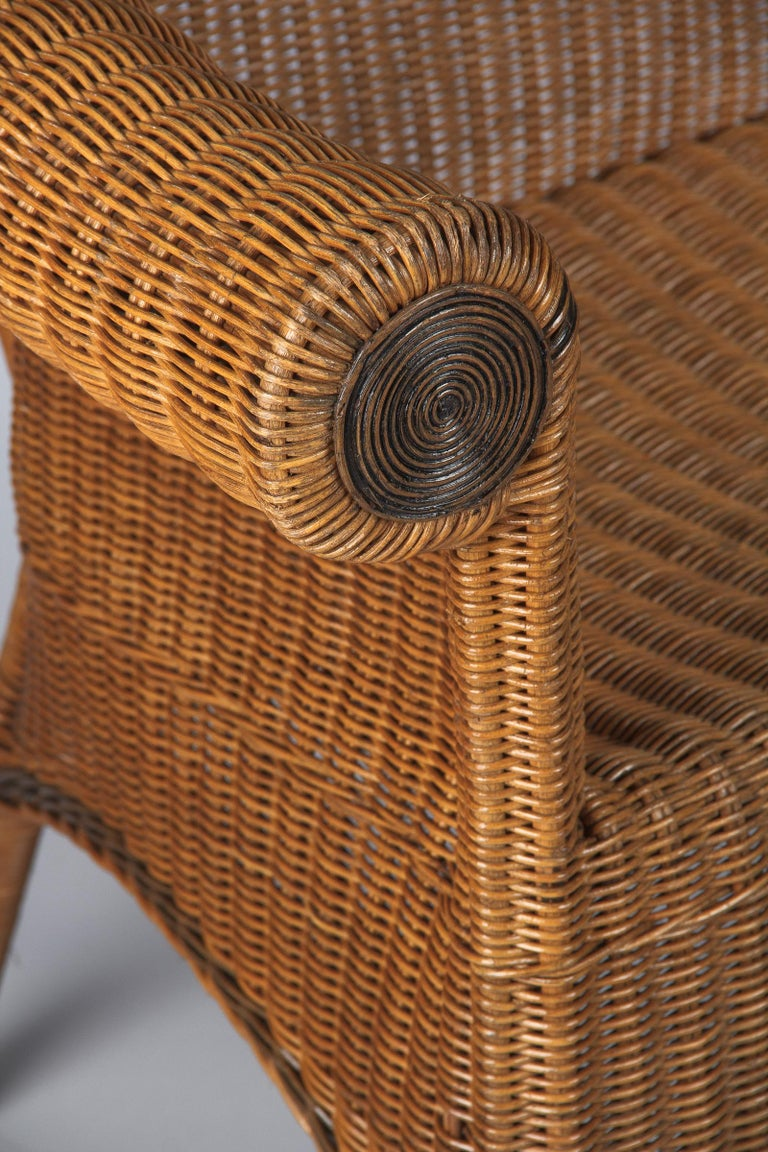 French 1930s Wicker Sofa For Sale 2