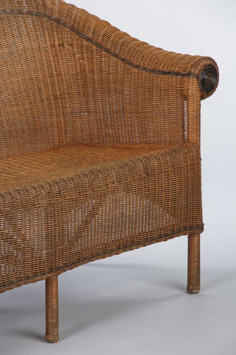 French 1930s Wicker Sofa For Sale 3