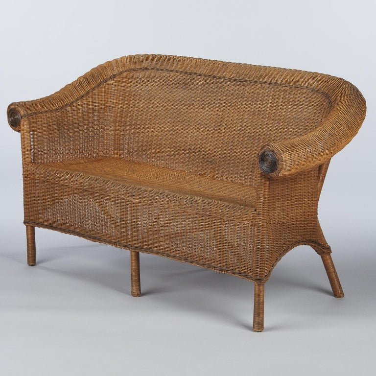 French 1930s Wicker Sofa For Sale 4