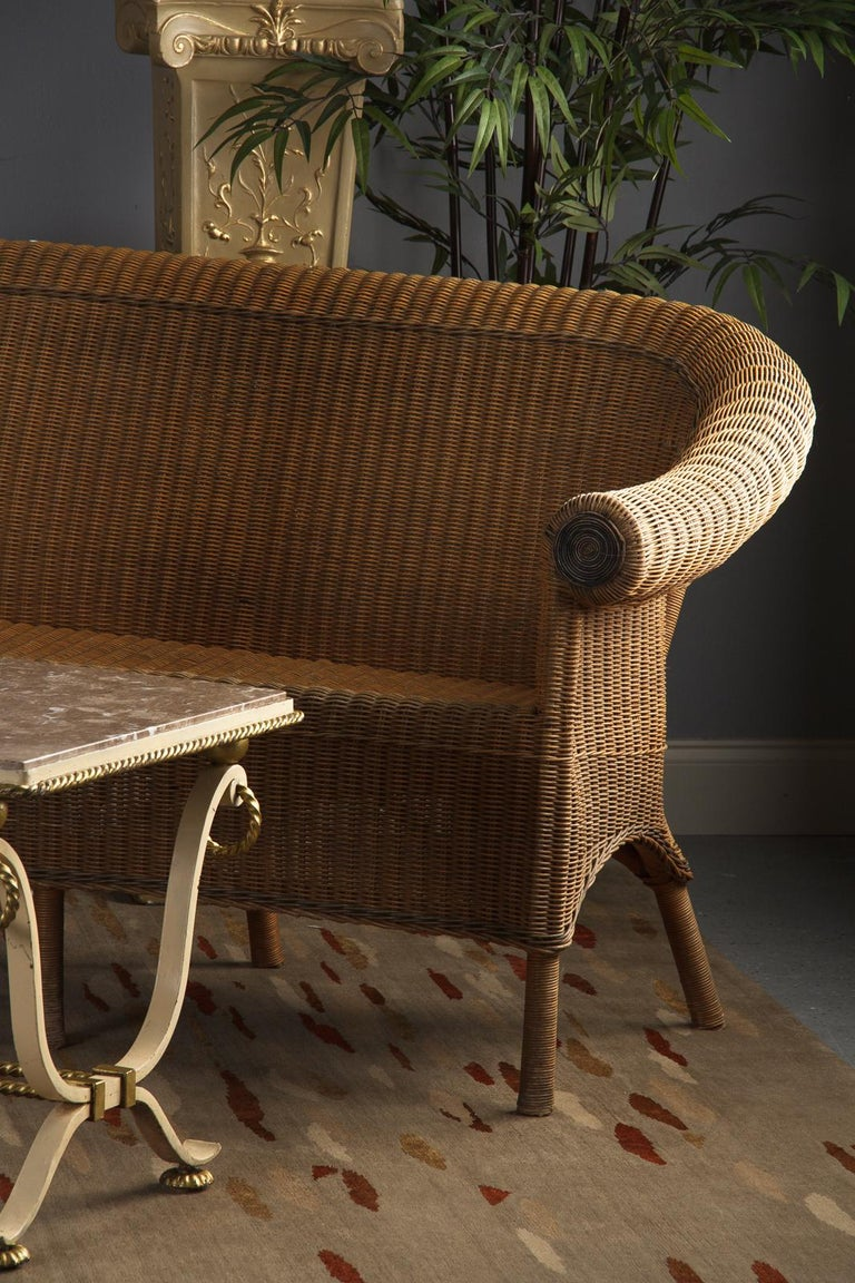 French 1930s Wicker Sofa For Sale 5