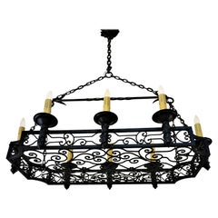 French 1930s Wrought Iron Chandelier