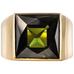 French 1935s 7.50 Carat Tourmaline 18 Karat Yellow Gold Signet Ring