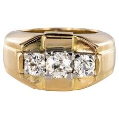 French 1940s 3 Diamonds 18 Karat Yellow Gold Tank Bangle Ring