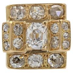 French 1940s 3.60 Carat Diamonds 18 Karat Yellow Gold Tank Ring