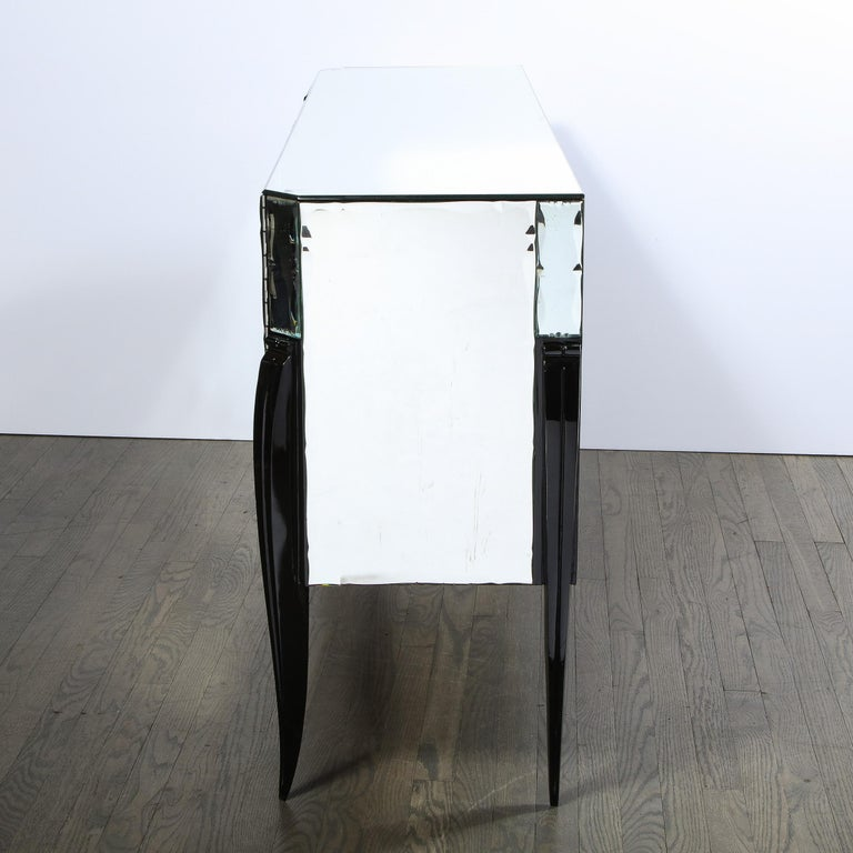 French 1940s Art Deco Beveled Mirrored Chest with Ebonized Walnut Cabriolet Legs For Sale 7