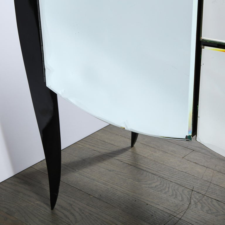 French 1940s Art Deco Beveled Mirrored Chest with Ebonized Walnut Cabriolet Legs For Sale 10