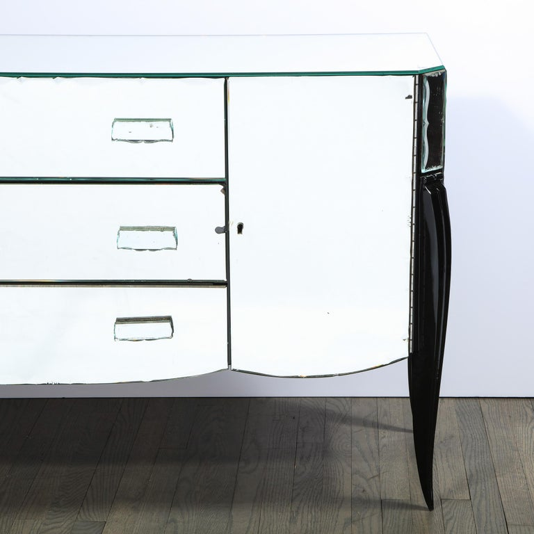 French 1940s Art Deco Beveled Mirrored Chest with Ebonized Walnut Cabriolet Legs In Good Condition For Sale In New York, NY