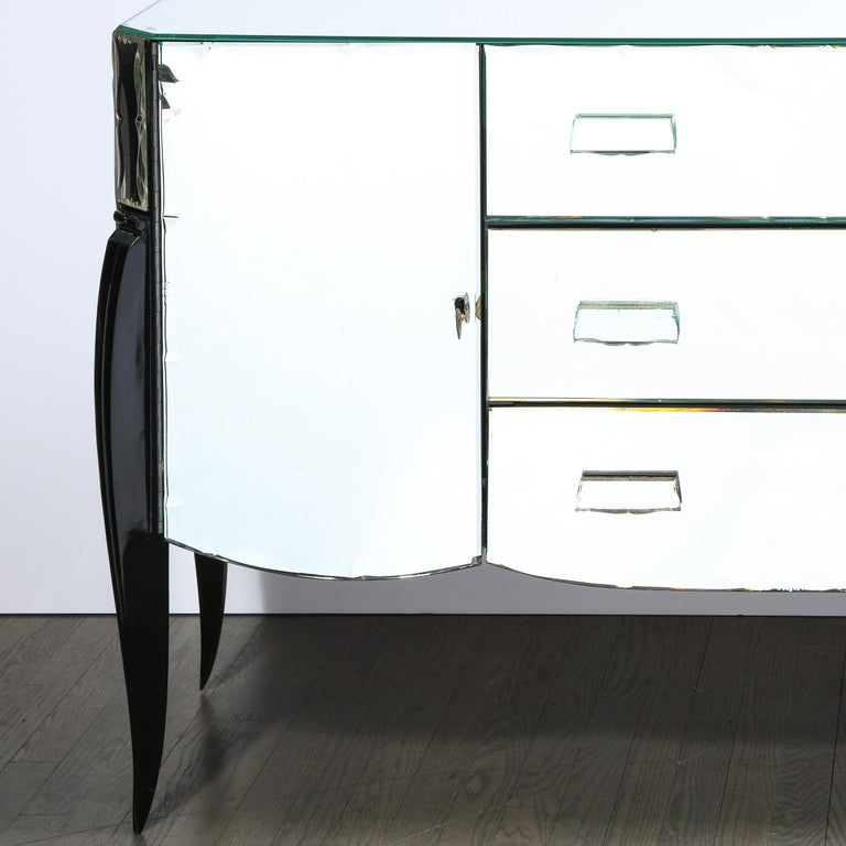 Mid-20th Century French 1940s Art Deco Beveled Mirrored Chest with Ebonized Walnut Cabriolet Legs For Sale