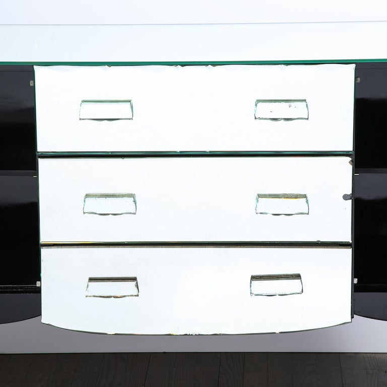 French 1940s Art Deco Beveled Mirrored Chest with Ebonized Walnut Cabriolet Legs For Sale 2
