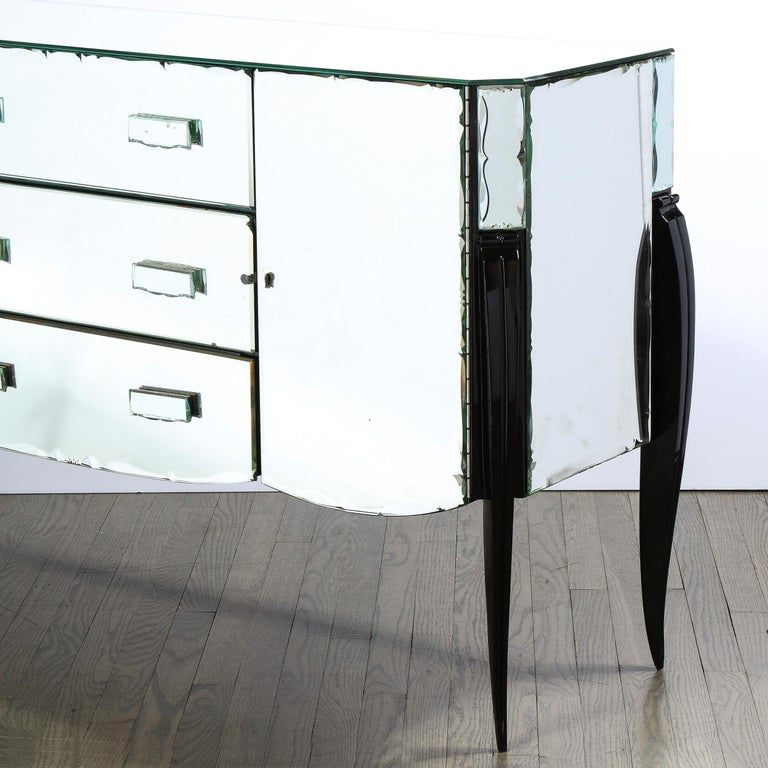 French 1940s Art Deco Beveled Mirrored Chest with Ebonized Walnut Cabriolet Legs For Sale 3