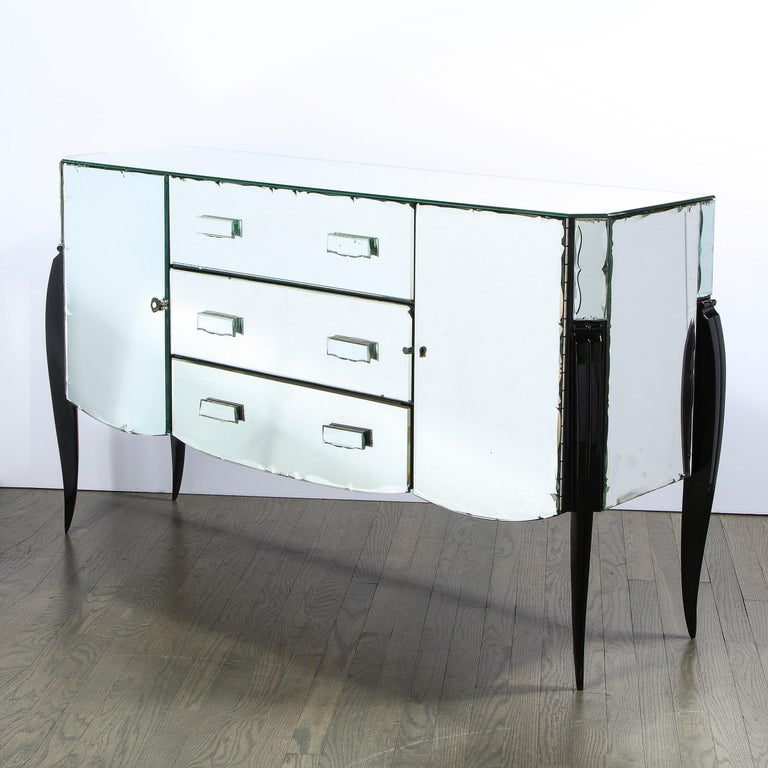 French 1940s Art Deco Beveled Mirrored Chest with Ebonized Walnut Cabriolet Legs For Sale 4
