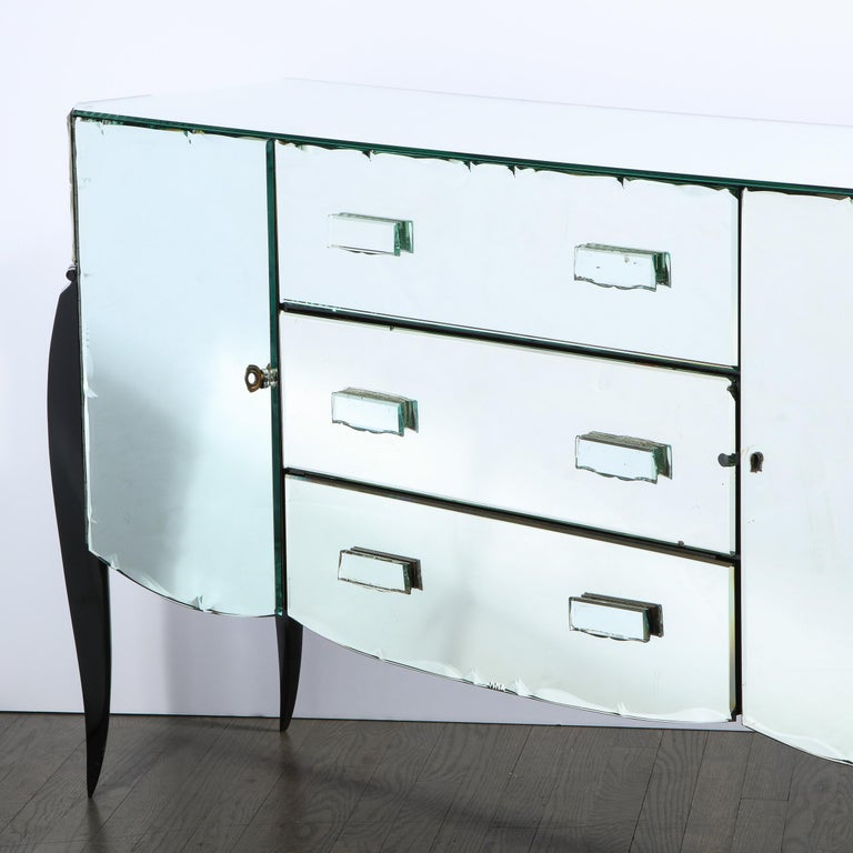 French 1940s Art Deco Beveled Mirrored Chest with Ebonized Walnut Cabriolet Legs For Sale 5