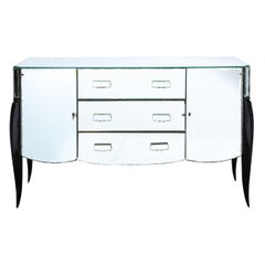 French 1940s Art Deco Beveled Mirrored Chest with Ebonized Walnut Cabriolet Legs