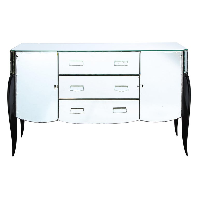 French 1940s Art Deco Beveled Mirrored Chest with Ebonized Walnut Cabriolet Legs For Sale