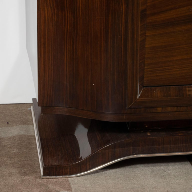 Mid-Century Modern French 1940s Art Deco Bookmatched Walnut Sideboard with Nickeled Bronze Details For Sale