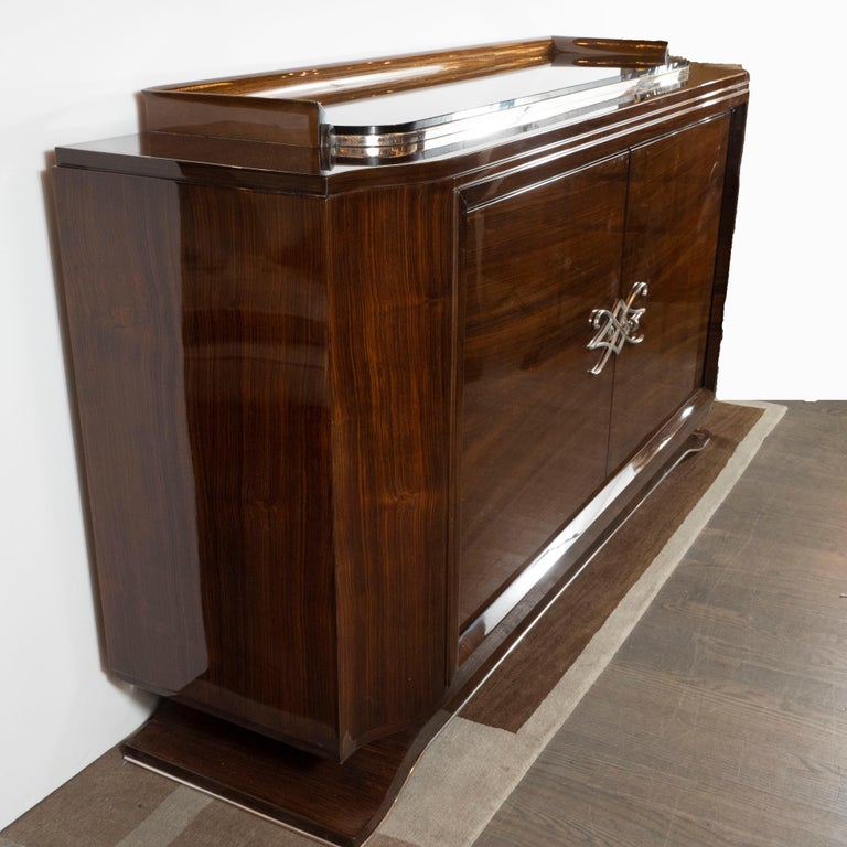 French 1940s Art Deco Bookmatched Walnut Sideboard with Nickeled Bronze Details For Sale 2