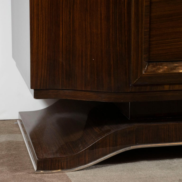 French 1940s Art Deco Bookmatched Walnut Sideboard with Nickeled Bronze Details For Sale 4