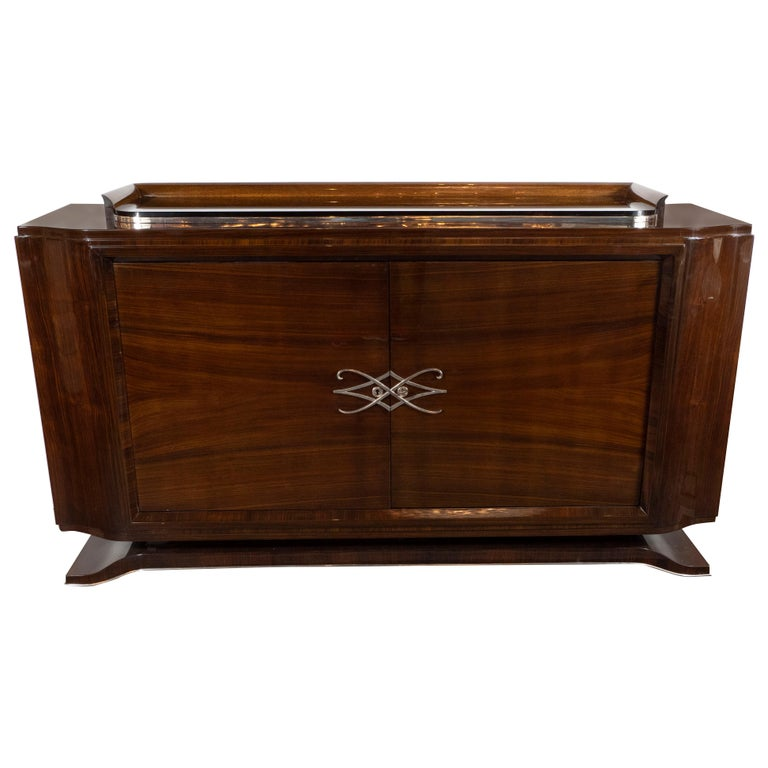 French 1940s Art Deco Bookmatched Walnut Sideboard with Nickeled Bronze Details For Sale