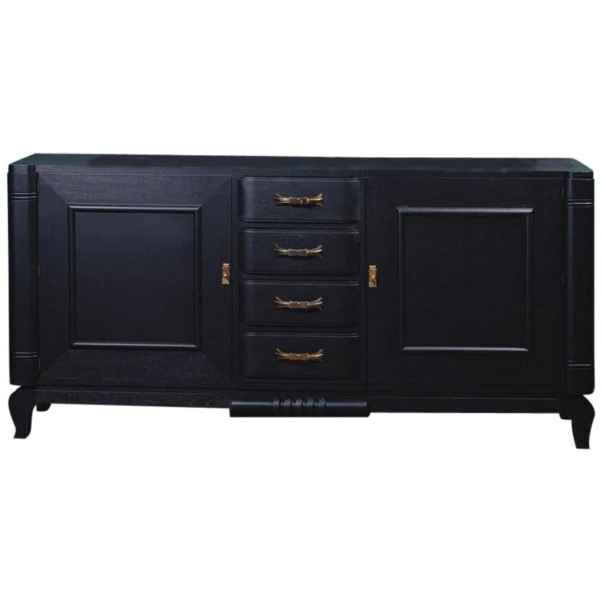 French 1940s Art Deco Design Black Lacquer Wooden and Brass Finishes Sideboard
