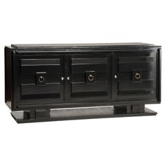 French 1940s Art Deco Style Black Lacquered Crystal Top Three Doors Credenza