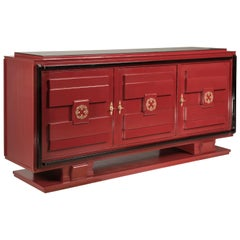 French 1940s Art Deco Style Red Lacquered and Black Details and Top Credenza
