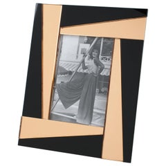 French 1940s Black and Pink Copper Mirror Picture Frame