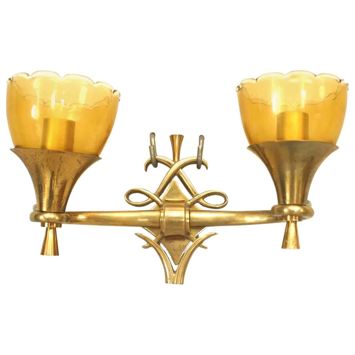 French Mid-Century Brass and Glass Wall Sconces