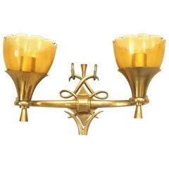 French 1940s Brass Two-Arm Wall Sconce