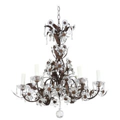 French 1940s Bronze and Crystal Beaded Chandelier